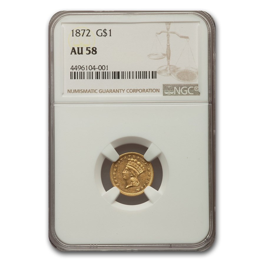 1872 $1 Indian Head Gold AU-58 NGC