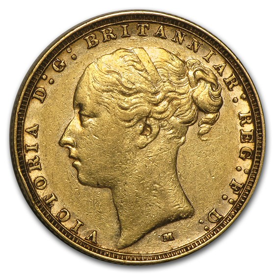 1872-1887-M Australia Gold Sovereign Young Victoria Avg Circ