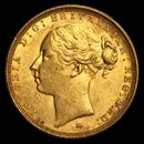 1872-1887-M Australia Gold Sovereign Young Victoria BU