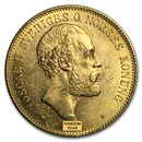 1872-1905 Sweden Gold 20 Kronor Oscar II (BU)