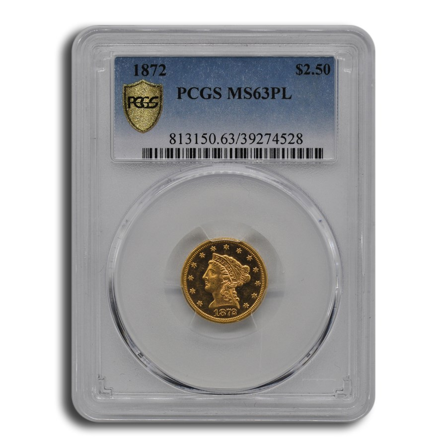 1872 $2.50 Liberty Gold Quarter Eagle MS-63 PCGS (PL)