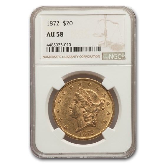 1872 $20 Liberty Gold Double Eagle AU-58 NGC