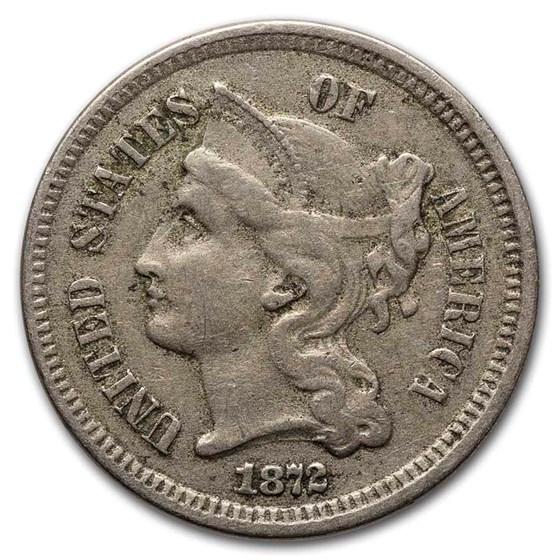 1872 3 Cent Nickel VF