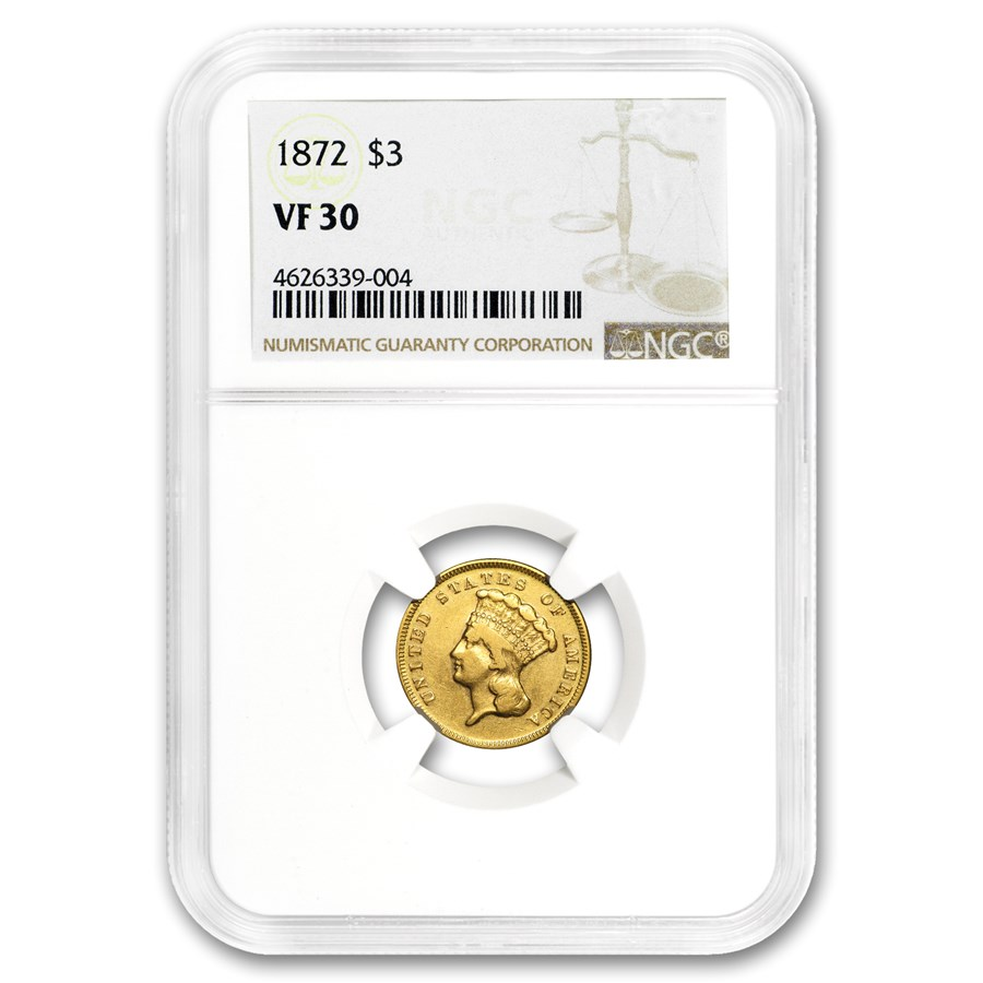 1872 $3 Gold Princess VF-30 NGC
