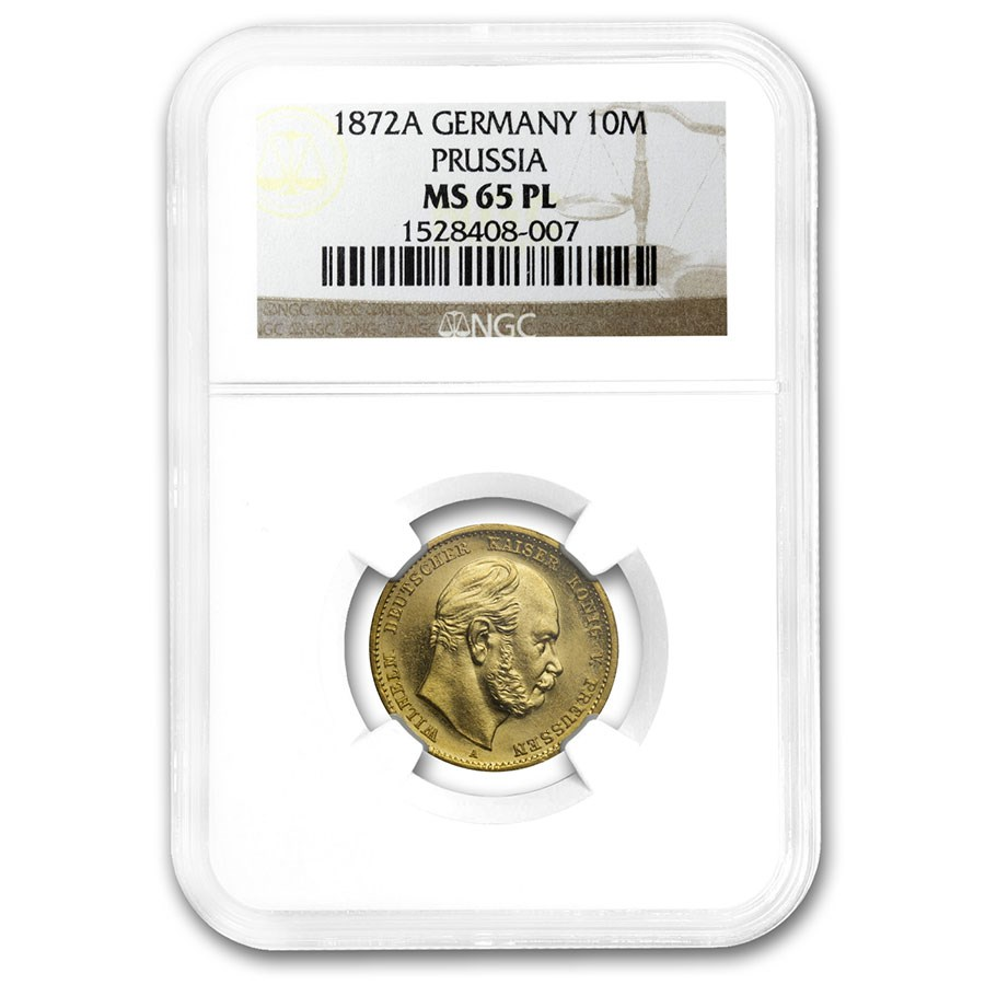 1872-A Germany Gold 10 Marks Prussia MS-65 PL NGC