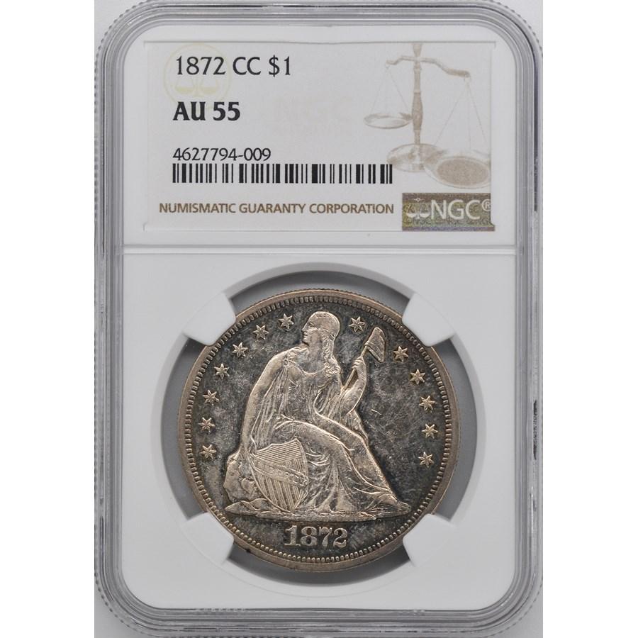 1872-CC Liberty Seated Dollar AU-55 NGC