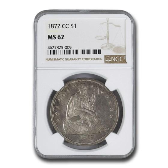 1872-CC Liberty Seated Dollar MS-62 NGC