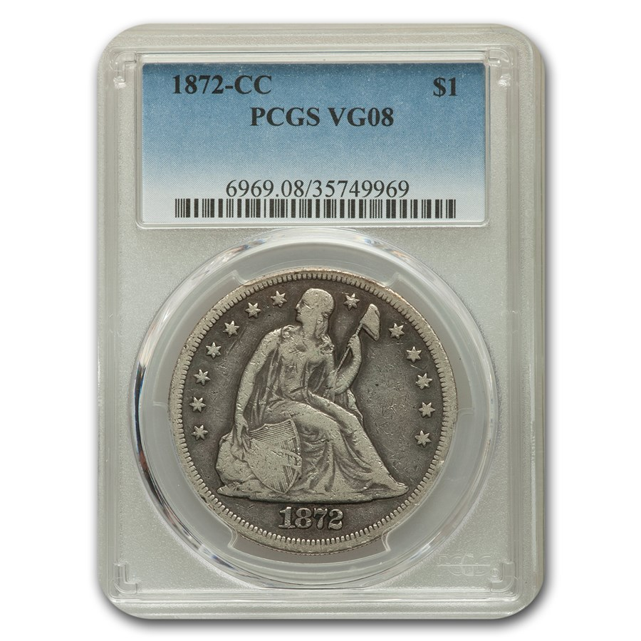 1872-CC Liberty Seated Dollar VG-8 PCGS
