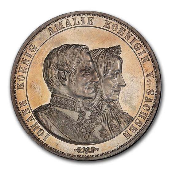 1872 German State Saxony-Albertine Silver 2 Thaler PR-63 PCGS