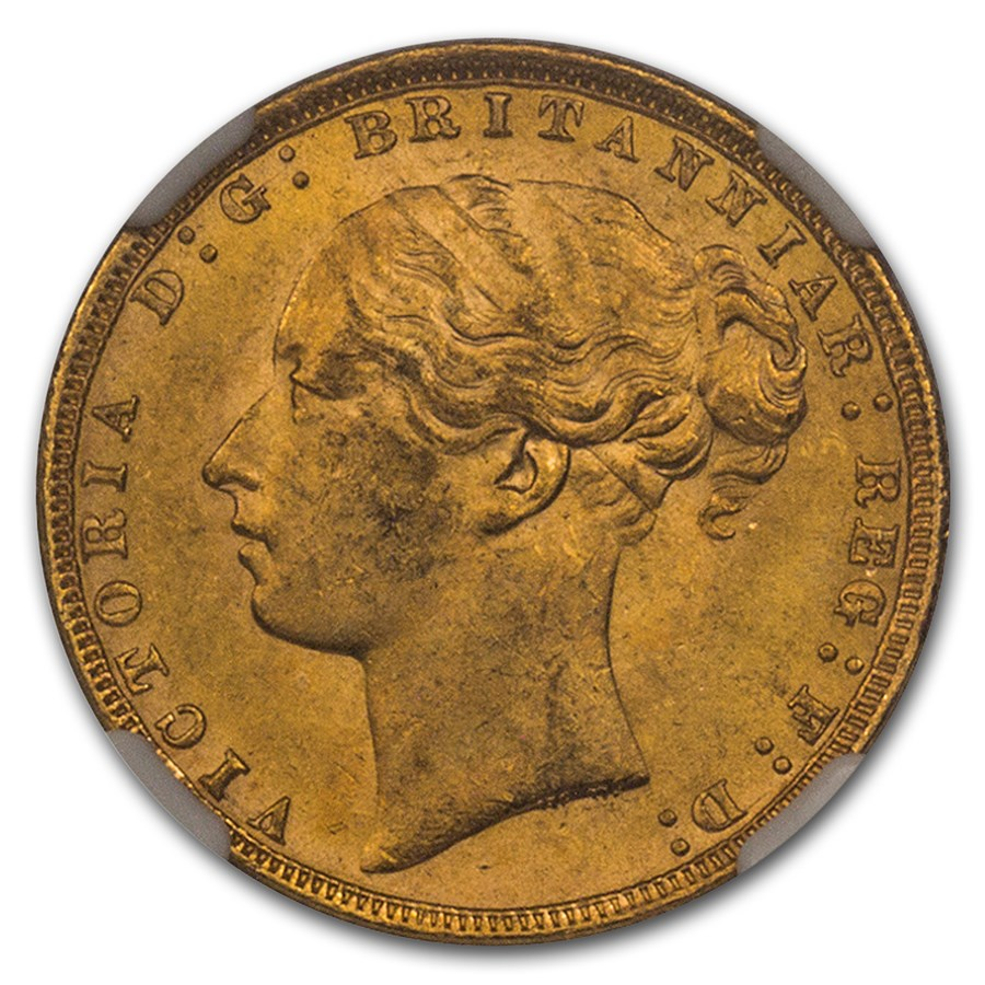 1872 Great Britain Gold Sovereign Victoria Shield MS-63 NGC