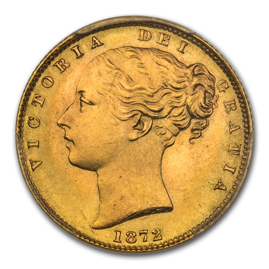 1872 Great Britain Gold Sovereign Victoria Young Head MS-65 PCGS