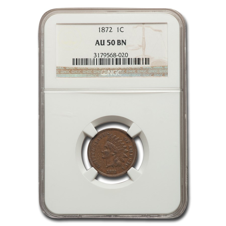1872 Indian Head Cent AU-50 NGC (Brown)