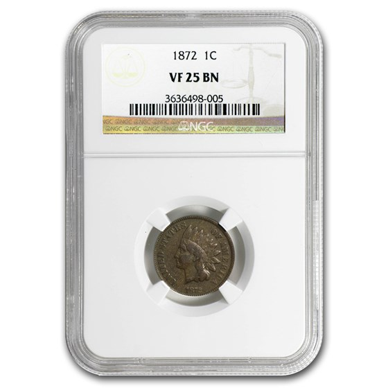 1872 Indian Head Cent VF-25 NGC (Brown)