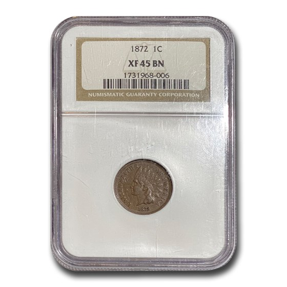 1872 Indian Head Cent XF-45 NGC (Brown)