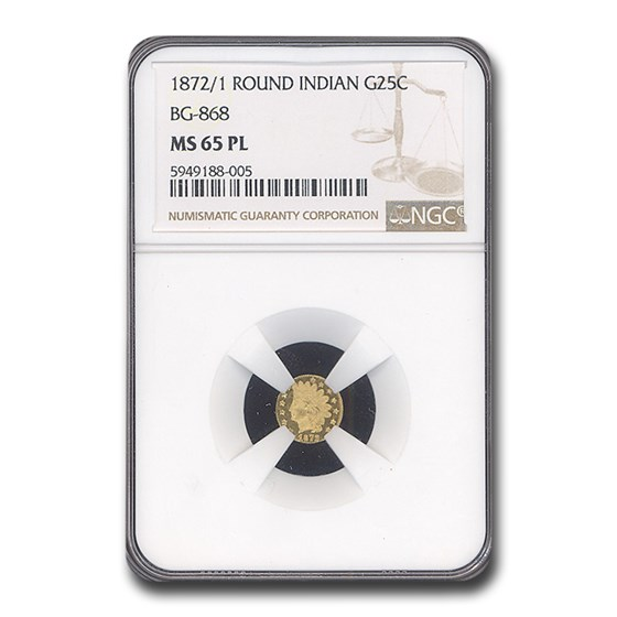 1872 Indian Round 25 Cent Gold MS-65 NGC (PL, BG-868)
