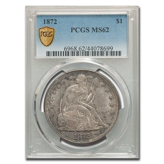 1872 Liberty Seated Dollar MS-62 PCGS