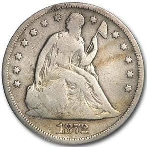 1872 Liberty Seated Dollar VG Details (Cleaned)