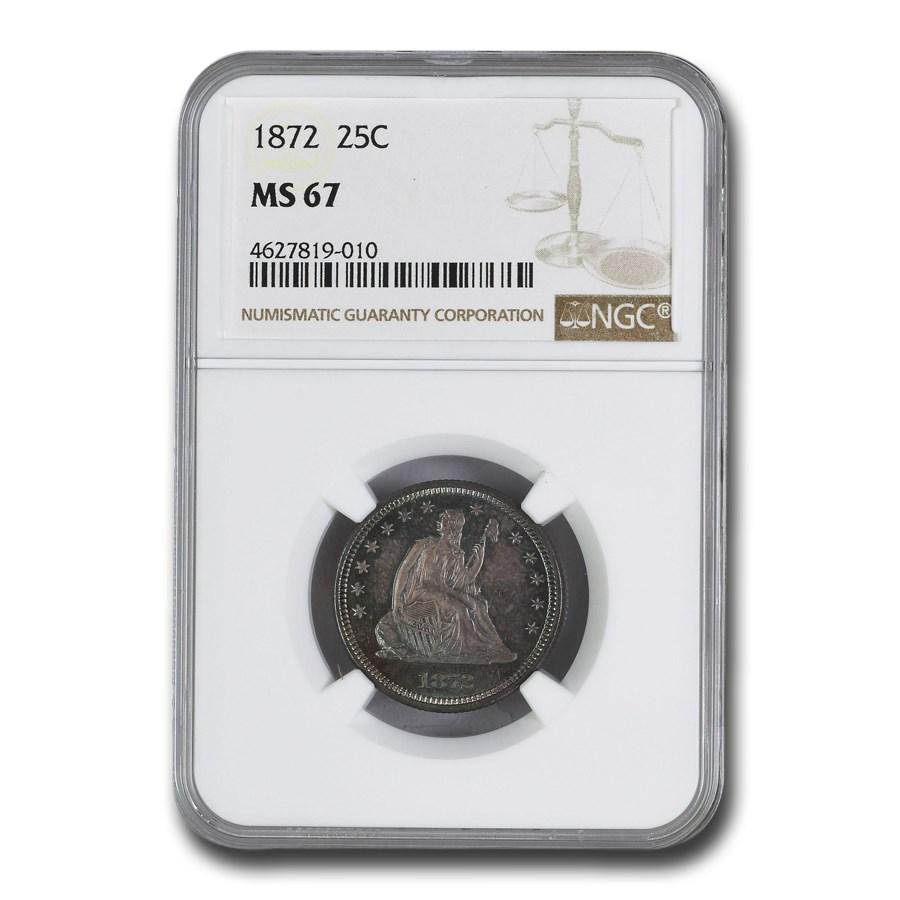 1872 Liberty Seated Quarter MS-67 NGC