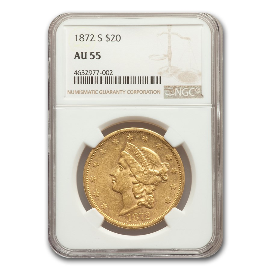1872-S $20 Liberty Gold Double Eagle AU-55 NGC