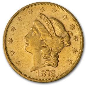 1872-S $20 Liberty Gold Double Eagle AU