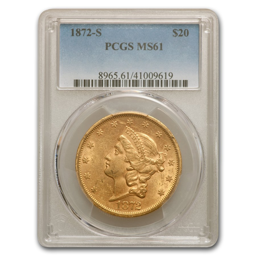 1872-S $20 Liberty Gold Double Eagle MS-61 PCGS
