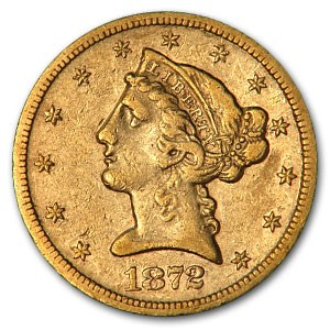 1872-S $5 Liberty Gold Half Eagle XF Details (Cleaned)