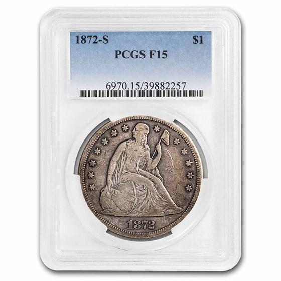 1872-S Liberty Seated Dollar Fine-15 PCGS