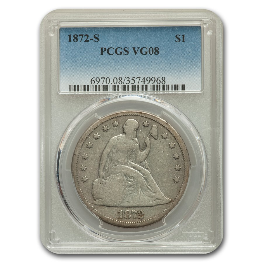 1872-S Liberty Seated Dollar VG-8 PCGS