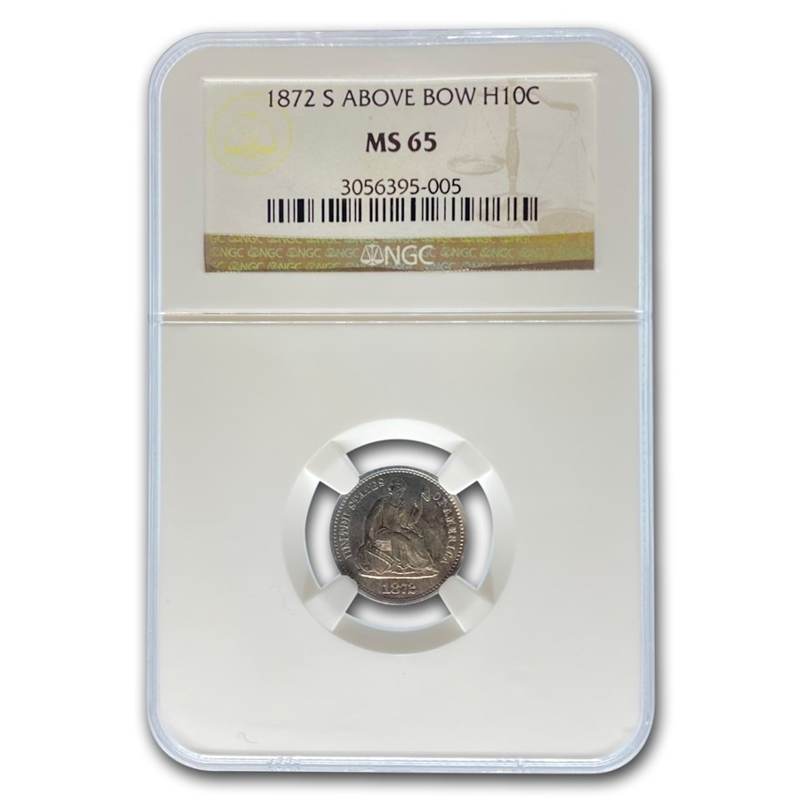 1872-S Liberty Seated Half Dime MS-65 NGC (Above Bow)