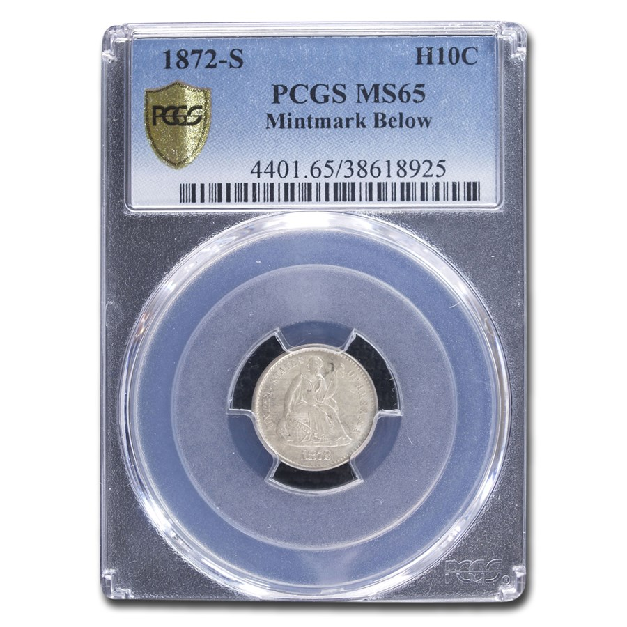 1872-S Liberty Seated Half Dime MS-65 PCGS (Mint mark Below)