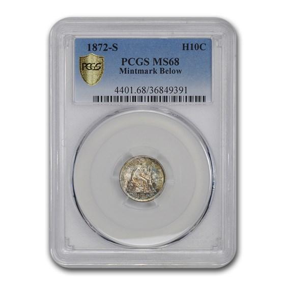 1872-S Liberty Seated Half Dime MS-68 PCGS (Mint mark Below)