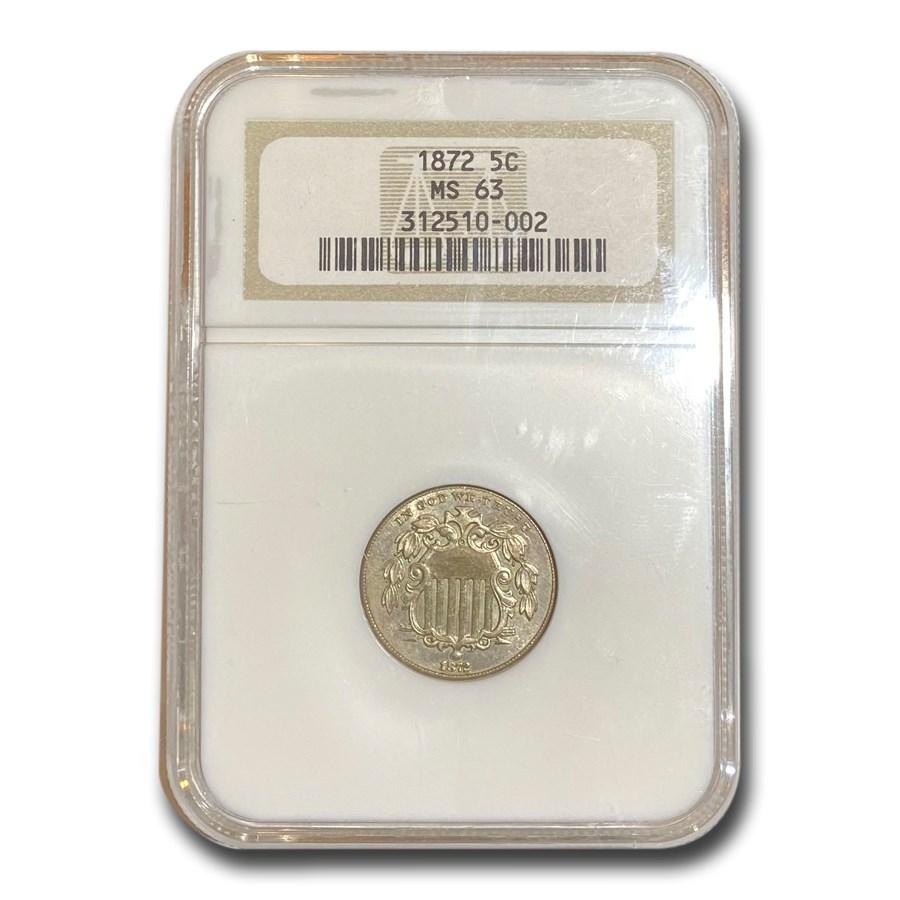 1872 Shield Nickel MS-63 NGC