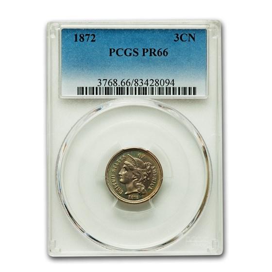 1872 Three Cent Nickel PR-66 PCGS