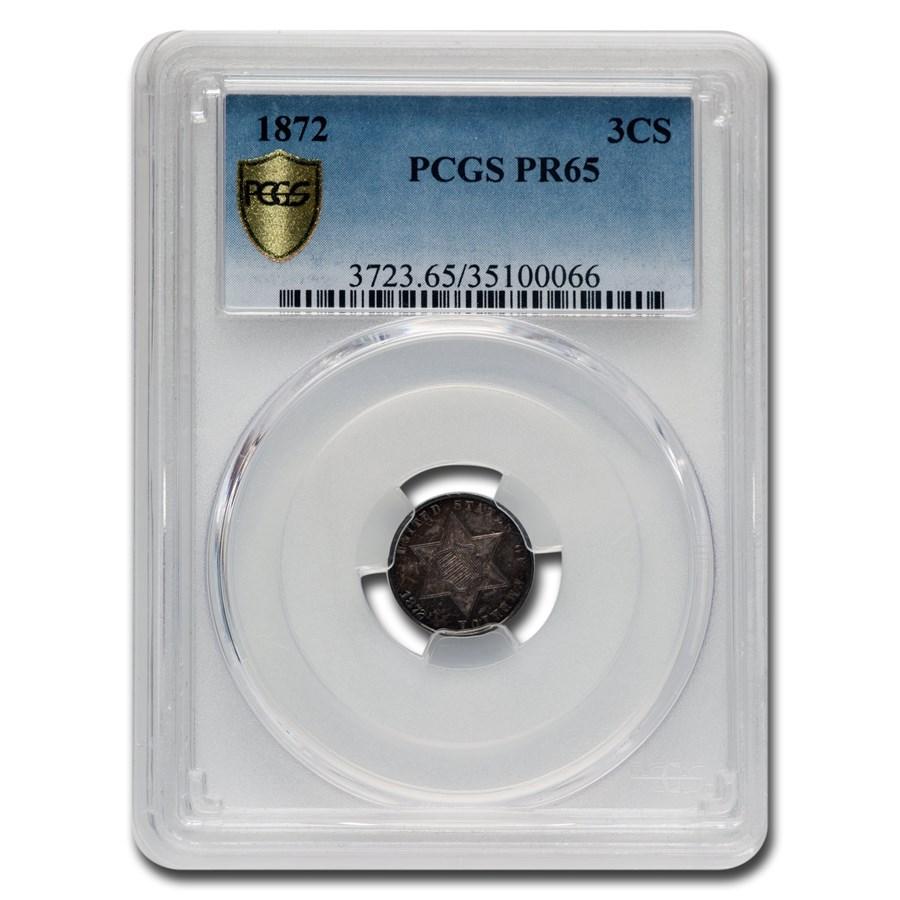 1872 Three Cent Silver PR-65 PCGS