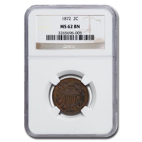 1872 Two Cent Piece MS-62 NGC (Brown)