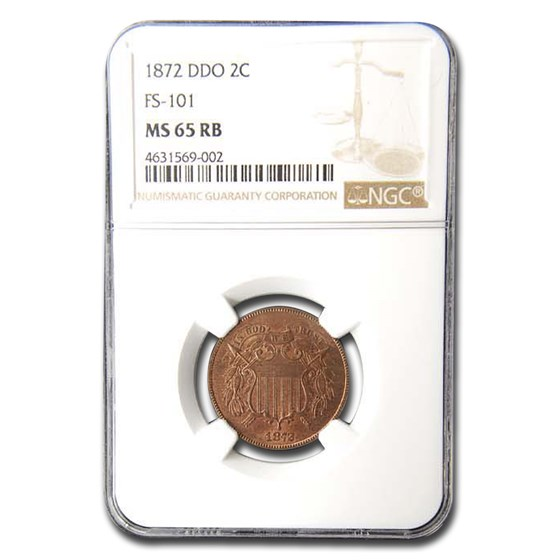 1872 Two Cent Piece MS-65 NGC (DDO, FS101 Red/Brown)