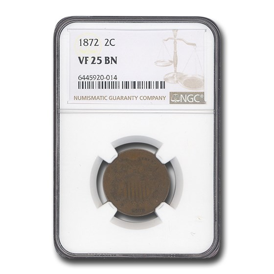 1872 Two Cent Piece VF-25 NGC (Brown)