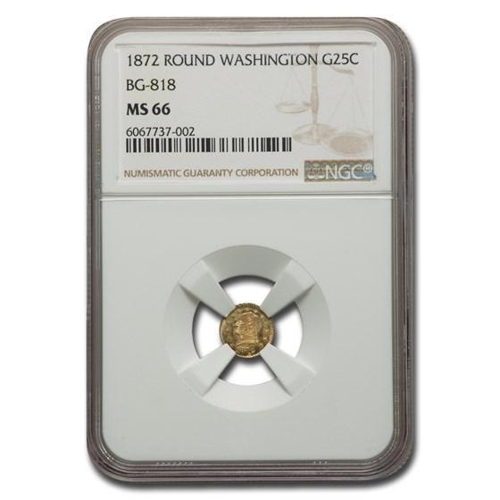 1872 Washington Head 25 Cent Gold MS-66 NGC (BG-818)