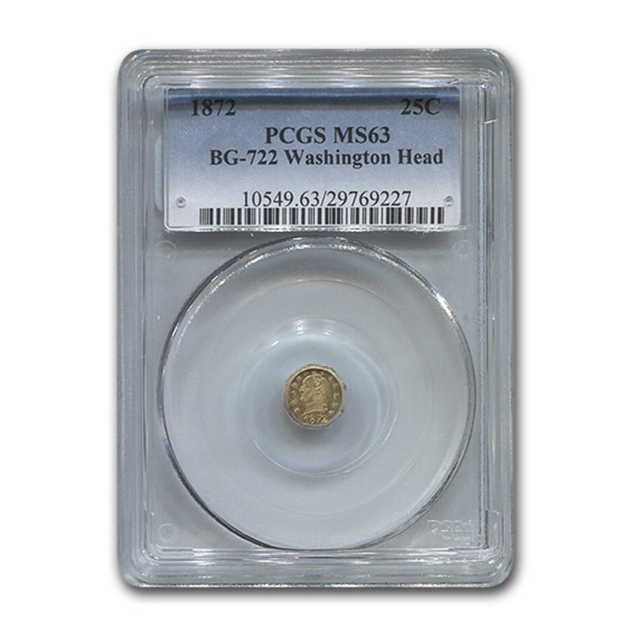 1872 Washington Head Octagonal 25¢ Gold MS-63 PCGS (BG-722)