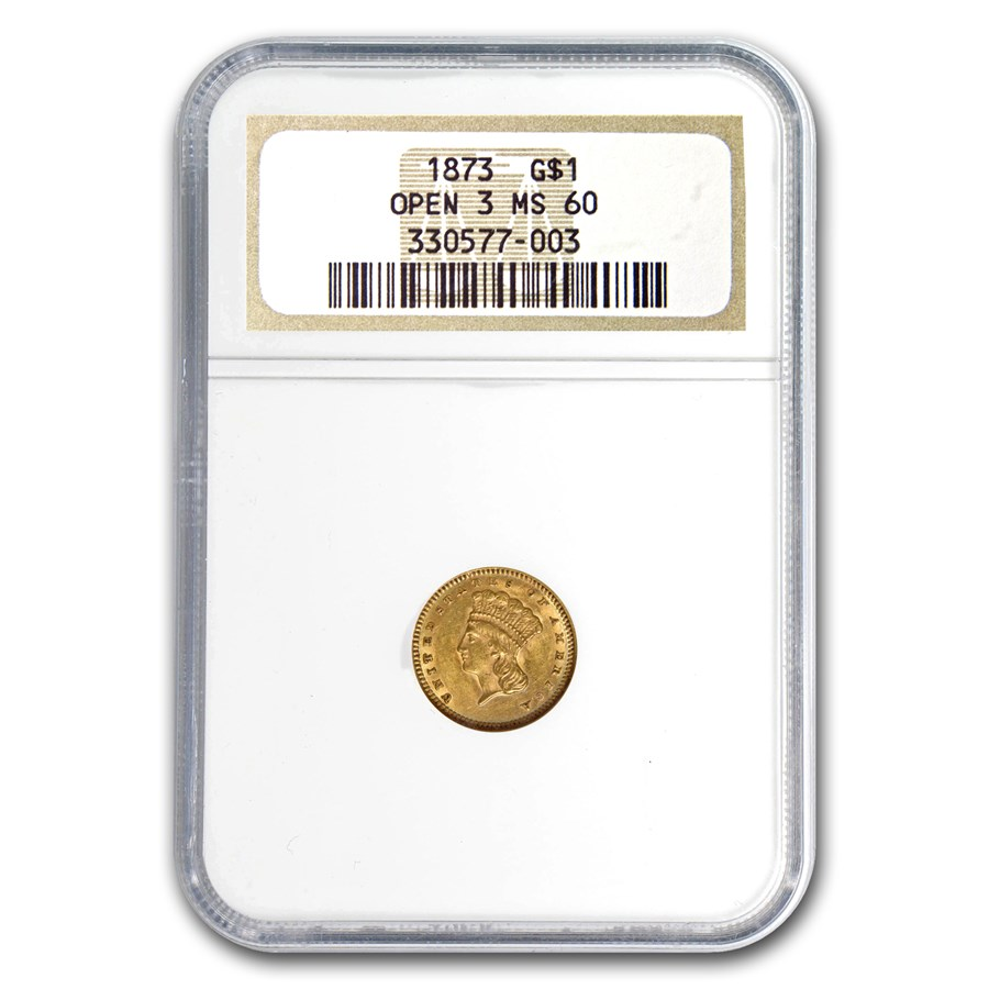 1873 $1 Indian Head Gold Open-3 MS-60 NGC