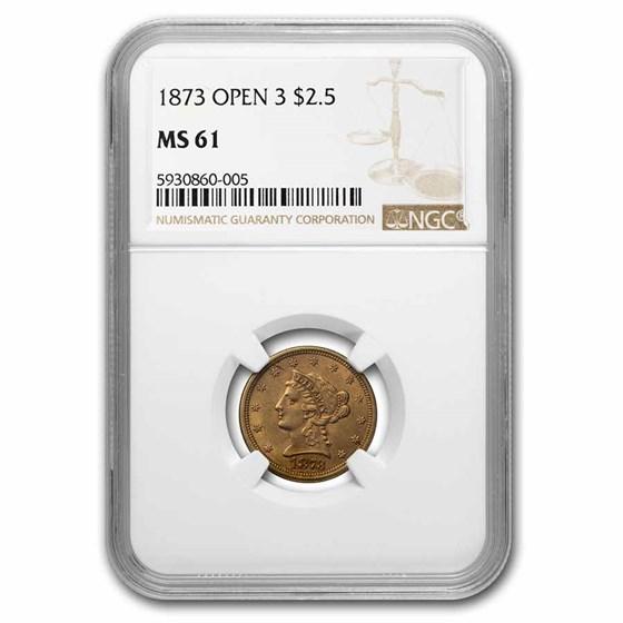 1873 $2.50 Liberty Gold Quarter Eagle MS-61 NGC (Open 3)