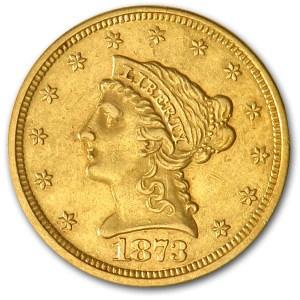 1873 $2.50 Liberty Gold Quarter Eagle Open 3 AU