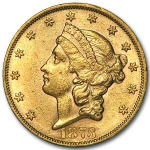 1873 $20 Liberty Gold Double Eagle Closed 3 AU