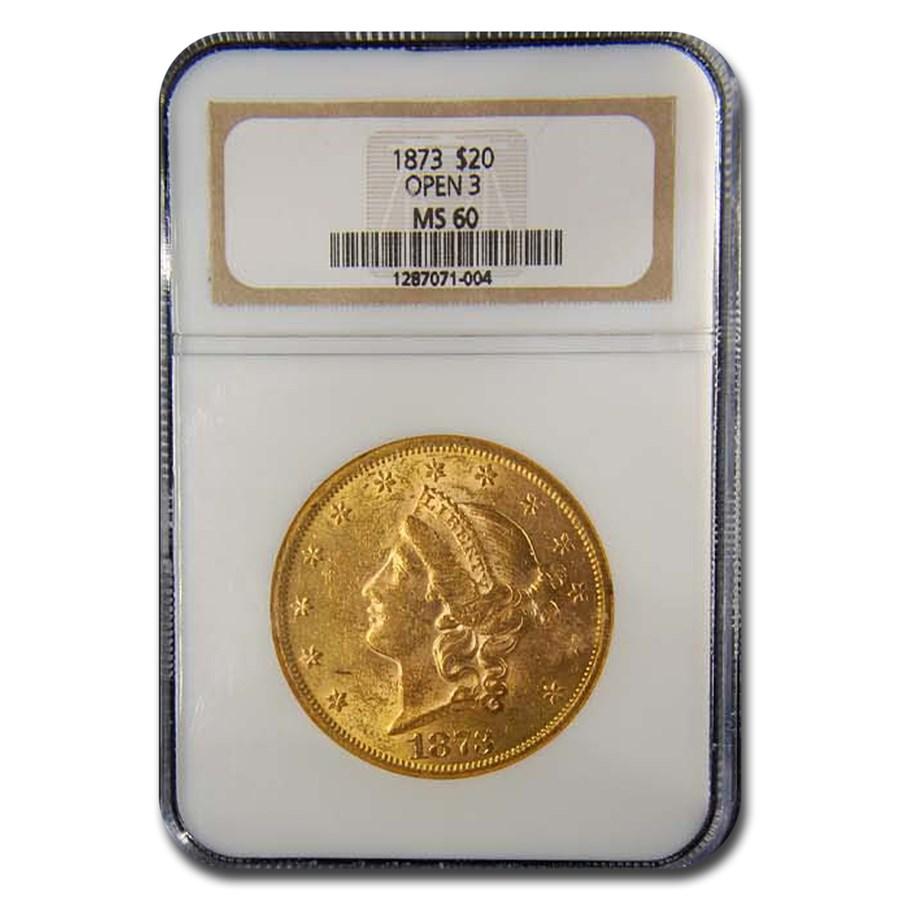 1873 $20 Liberty Gold Double Eagle MS-60 NGC (Open 3)