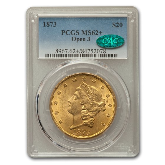 1873 $20 Liberty Gold Double Eagle MS-62+ PCGS CAC (Open 3)