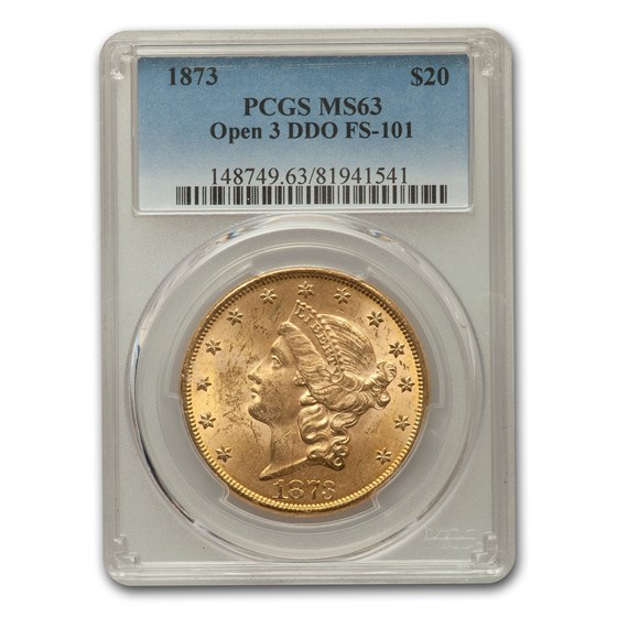 1873 $20 Liberty Gold Double Eagle MS-63 PCGS (Open 3, DDO)