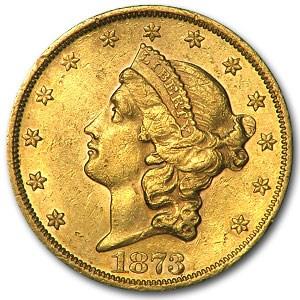 1873 $20 Liberty Gold Double Eagle Open 3 AU-55