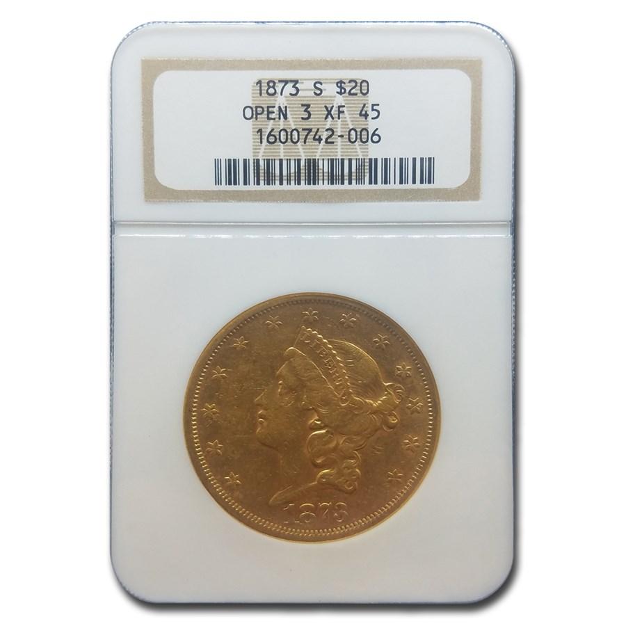 1873 $20 Liberty Gold Double Eagle Open 3 XF-45 NGC