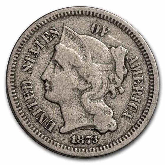 1873 3 Cent Nickel Open 3 VF