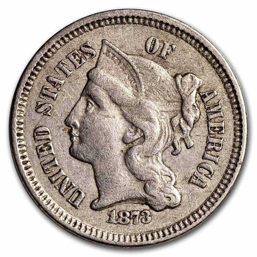 1873 3 Cent Nickel Open 3 XF
